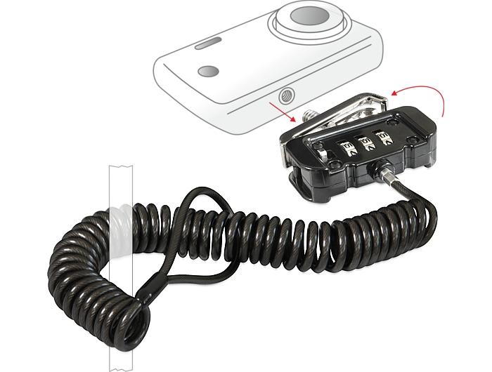Navilock biztonsági kábel számkombinációs zárral, fényképezőgépekhez, videó kamerákhoz
