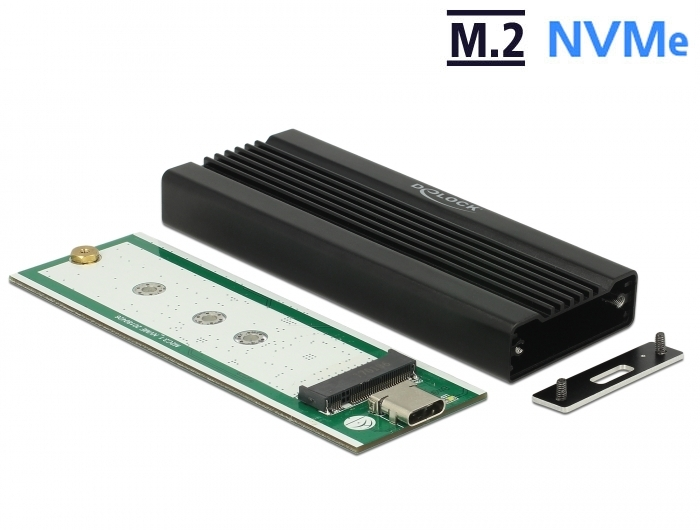 Delock M.2 NVMe PCIe SSD-hez külso ház SuperSpeed USB 10 Gbps (USB 3.1 Gen 2) USB Type-C™ anya