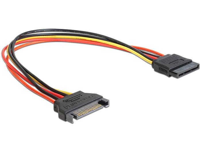 Delock SATA 15 Pin apa > SATA 15 Pin anya hosszabbító tápkábel, 30 cm