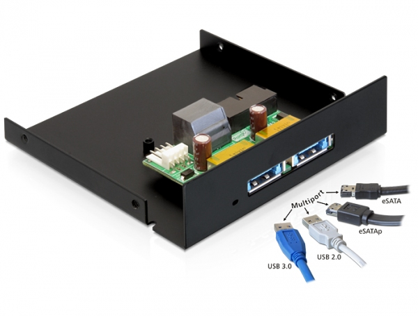 Delock elülső panel, 2 x Multiport USB 3.0 + eSATAp