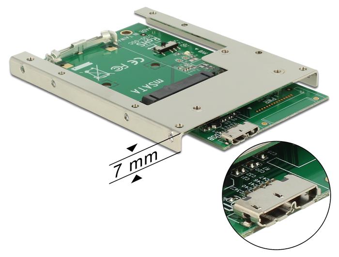 Delock USB3.0 - mSATA átalakító 2.5'' / 7mm beépítőkerettel
