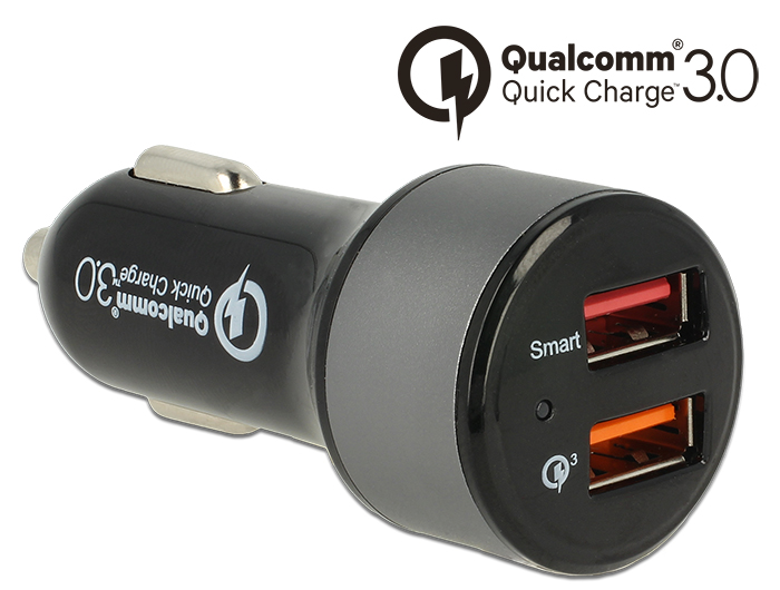 Navilock Car charger 2 x USB Type-A with Qualcomm Quick Charge 3.0