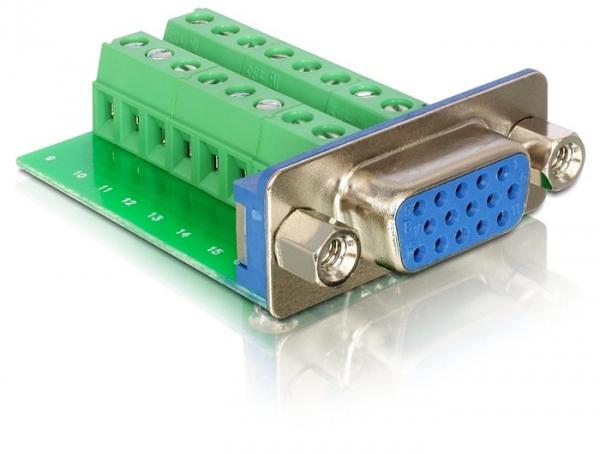 Delock VGA (anya) – 16 tűs sorkapocs adapter