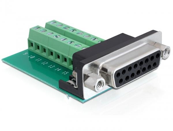 Delock adapter Sub-D 15 pin Gameport anya > terminál blokk 16 pines