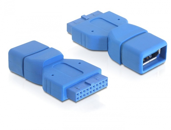 Delock USB 3.0 pin fejes adapter, 19 pin anya > USB 3.0-A anya