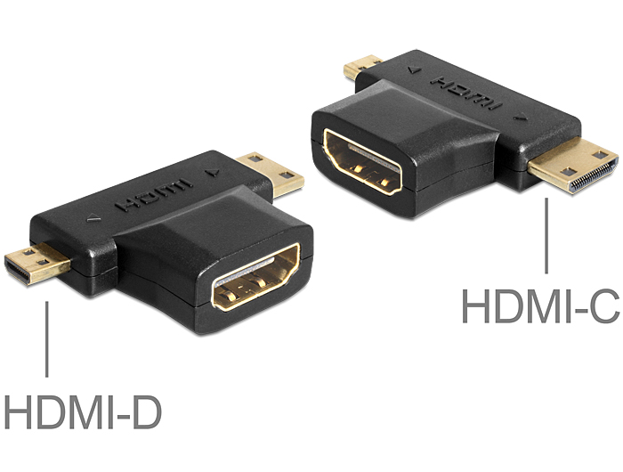 Delock HDMI-A anya > HDMI-C + HDMI-D apa adapter