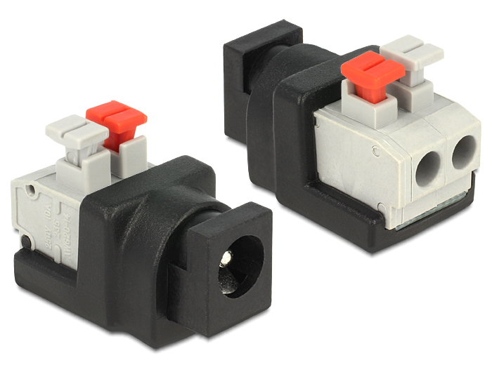 Delock DC 5.5 x 2.1 mm anya > Terminal Block nyomógombbal 2 pines adapter