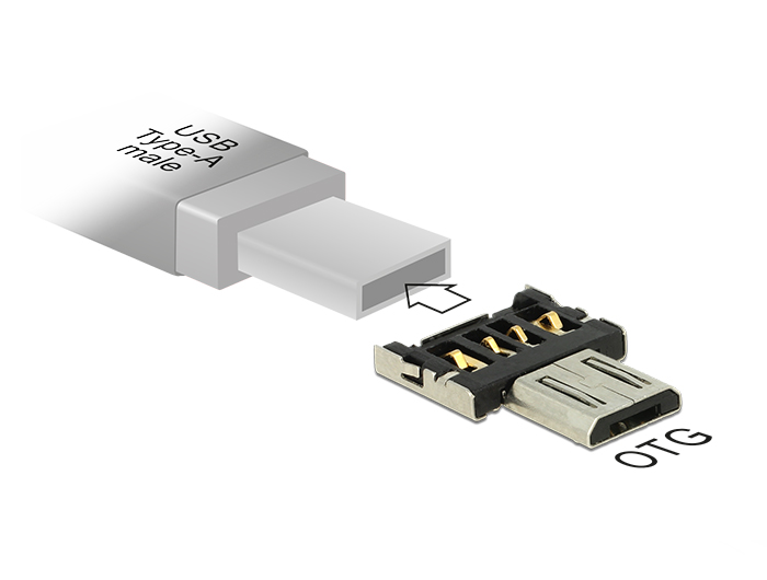 Delock OTG-adapter USB Micro-B-csatlakozódugóval A-típusú USB-csatlakozódugóhoz