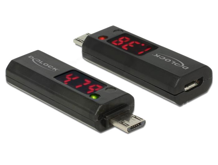 Delock Micro USB-adapter LED-kijelzővel a feszültség és áramerősség jelzésére