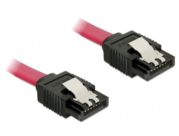 Delock SATA 6Gbps 30cm egyenes-egyenes piros kábel