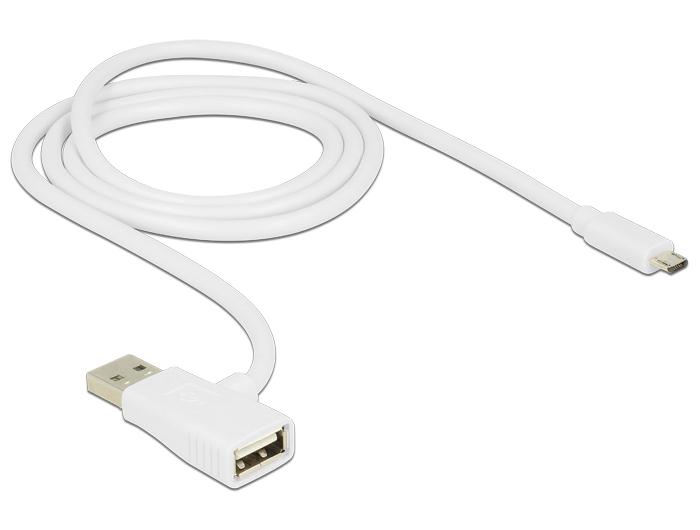 Delock Gyorstöltő kábel USB 2.0-s csatlakozódugóval > csatlakozóhüvellyel + Micro USB 2.0 (1 m)