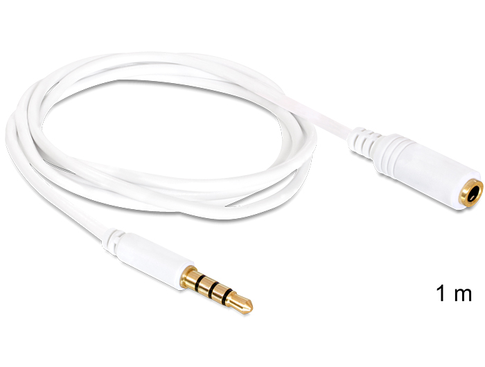 Delock audio sztereo Jack 3.5 mm apa / anya iPho 4 pin kábel, 1 m