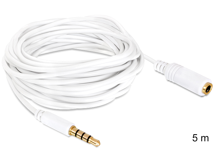 Delock audio sztereo Jack 3.5 mm apa / anya IPho 4 pin kábel, 5 m