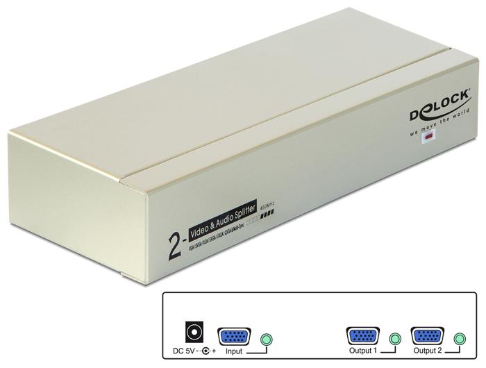Delock 2 portos VGA audió és videó elosztó 450 MHz