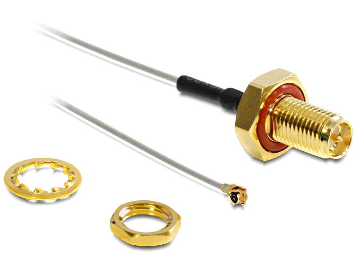 Delock adapter kábel I-PEX > RP-SMA, jack csatlakozó, 100 mm, vízfröccsenés ellen védett
