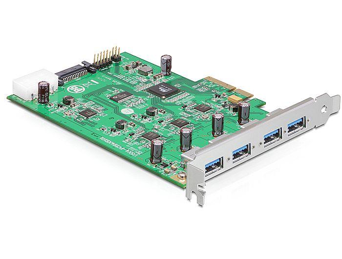 Delock PCI Express Card x4 > 4 x külső USB 3.0-A (négy csatornás)