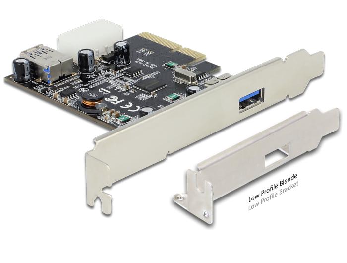 Delock PCI Express x4 kártya > 1 x külső + 1 x belső SuperSpeed USB 10 Gbps (USB 3.1, Gen 2) A típus