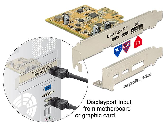 Delock PCI Express-kártya > 1 x külső, USB Type-C™ 3.1-es csatlakozóhüvely + 1 x külső, USB Type-C™