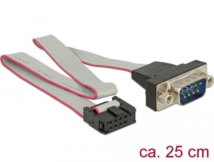 Delock RS-232 soros tus feju anya kábel - DB9 apa véggel1:1 elrendezés