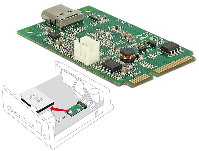 Delock Mini PCIe I/O PCIe teljes méret 1 x USB Type-C™ 3.1-es, 2. generációs csatlakozóhüvely