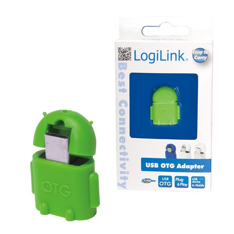 LogiLink USB micro USB OTG adapter zöld