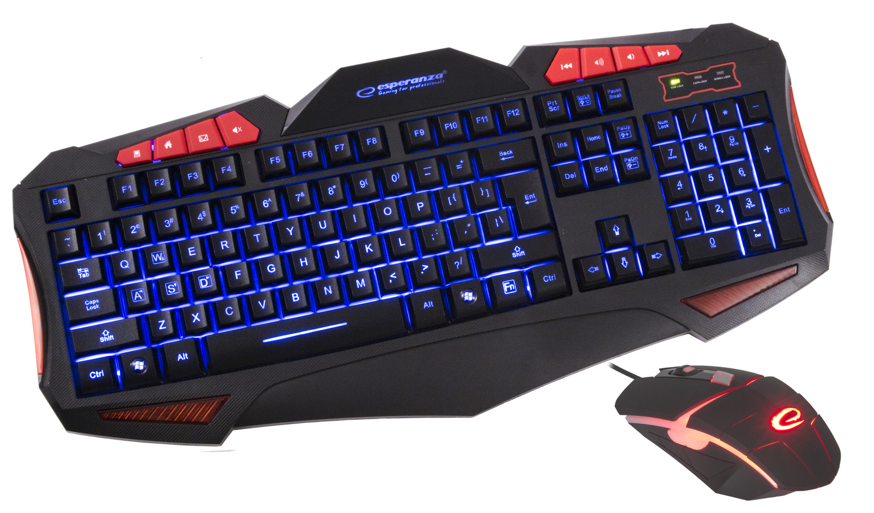 ESPERANZA MULTIMEDIA ILLUMINATED WIRED USB GAMING KEYBOARD WITH MOUSE SET SHELTER