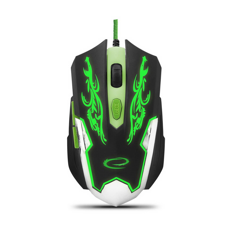 Esperanza MX405 CYBORG USB vezetékes gamer egér fekete/zöld