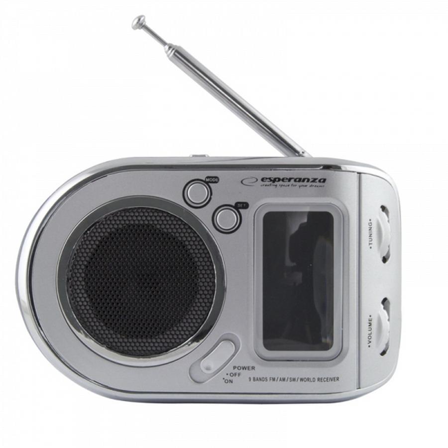 ESPERANZA PARROT többsávos hordozható rádió ébresztőórával - fehér