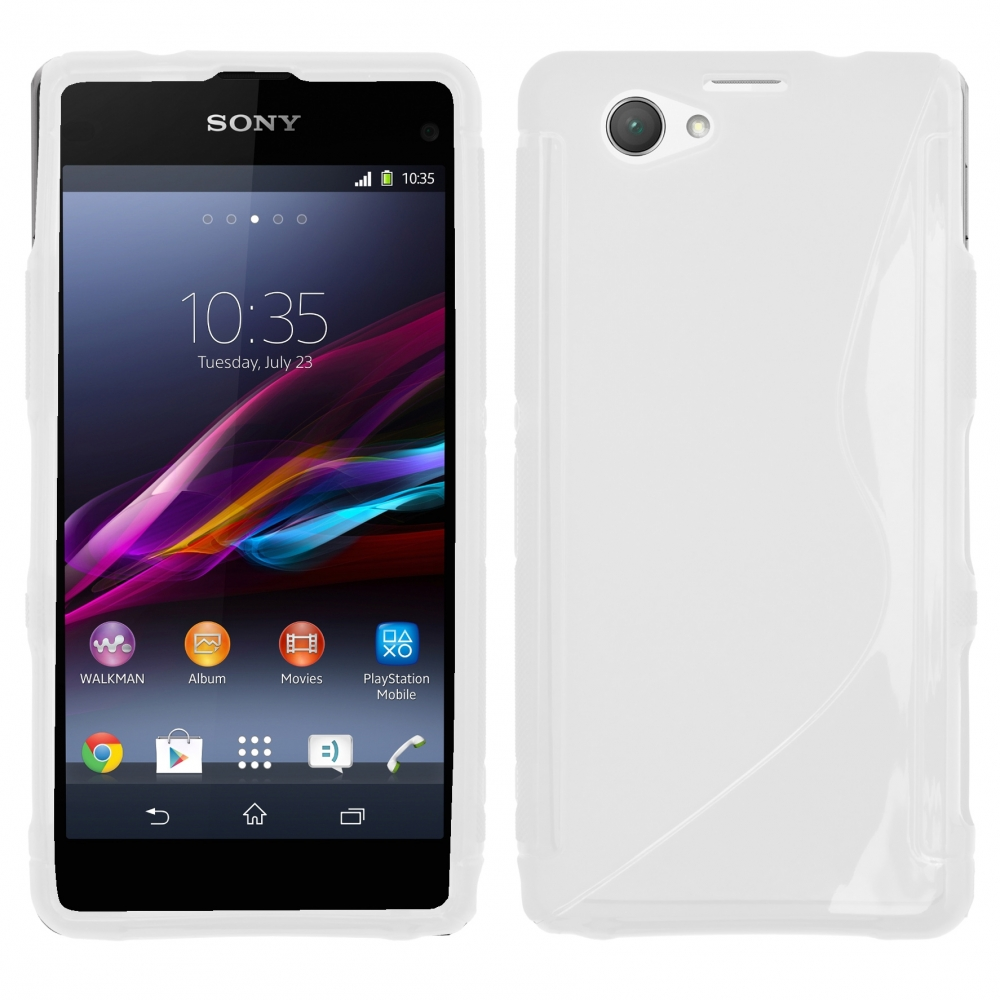 GT Back Cover ''S-Case'' Sony XPeria Z1 Compact fehér/átlátszó