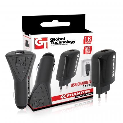 GT PHANTOM USB töltő szett (hálózati+autós) 1.6A + Micro-USB kábel
