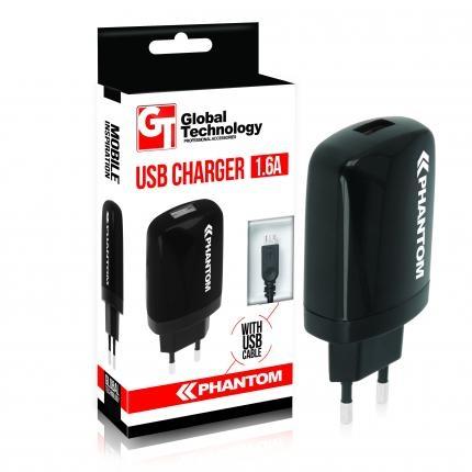 GT PHANTOM USB hálózati töltő 1.6A + Micro-USB kábel