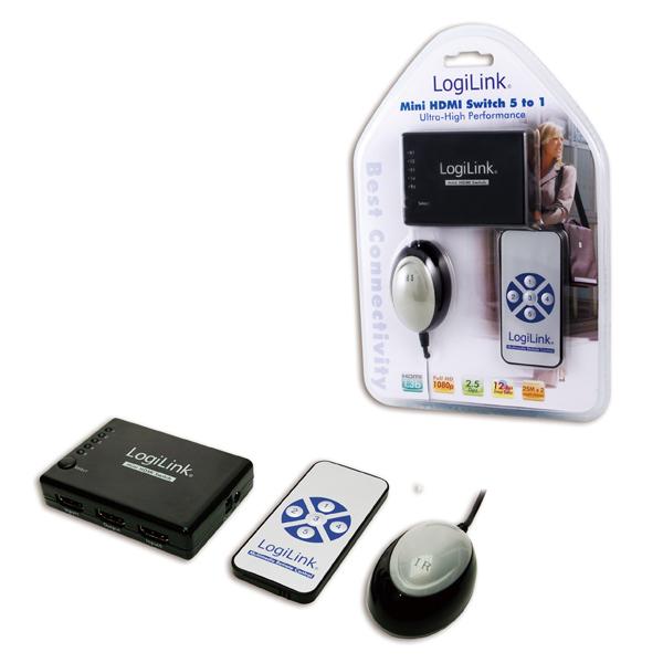 Logilink Mini HDMI 5-az-1-ben Switch távirányítóval