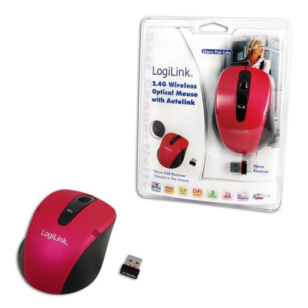 Logilink 2.4G Vezeték nélküli optikai egér, Autolink funkcióval, cherry pink