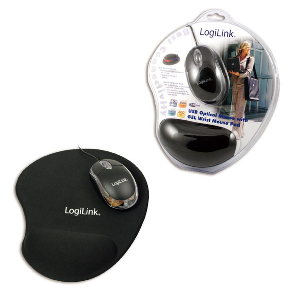 Logilink USB-s Optika egér géles csuklótámaszos egérpaddal
