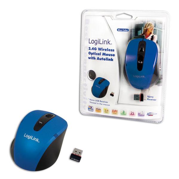 Logilink 2.4G Vezeték nélküli optikai egér, Autolink funkcióval, kék