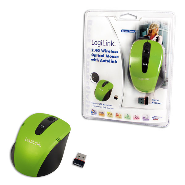 Logilink 2.4G Vezeték nélküli optikai egér, Autolink funkcióval, zöld
