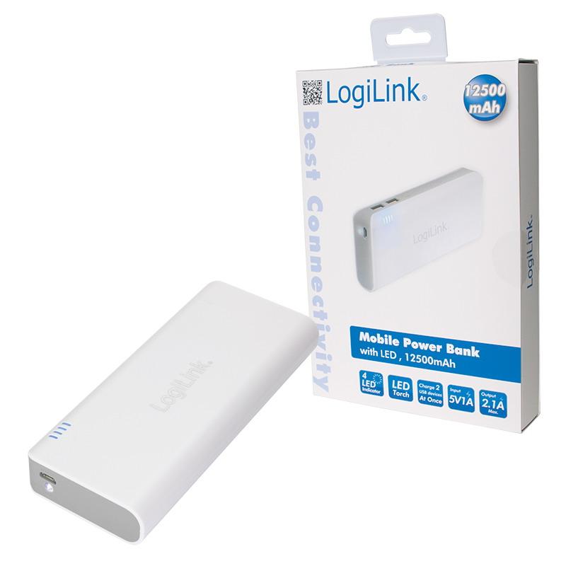 LogiLink Hordozható powerbank 12500mAh