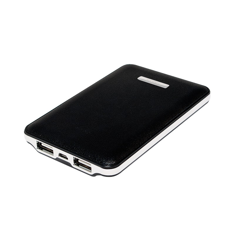 LogiLink Hordozható powerbank Leather Texture Design, 5000 mAh, Black