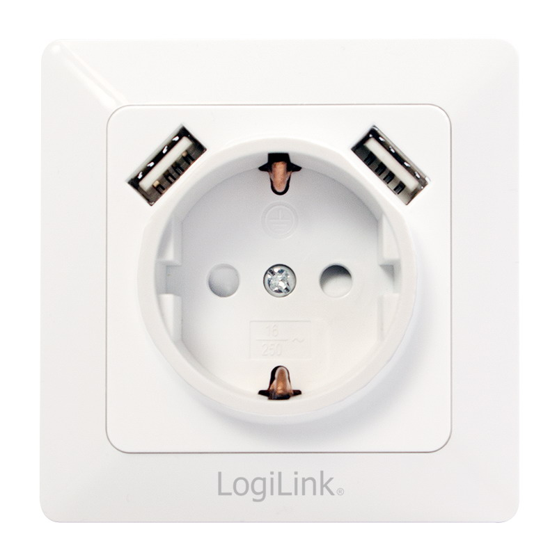 LogiLink 2-Port USB wall outlet with 1x safety socket