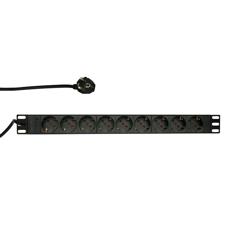 LogiLink 19'' PDU with 9 german sockets without ON/OFF switch