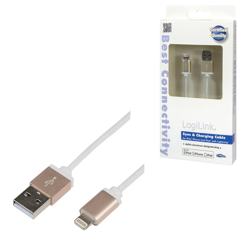 LogiLink Apple® Lightning - USB csatlakozó kábel, 1.00 m, arany színű