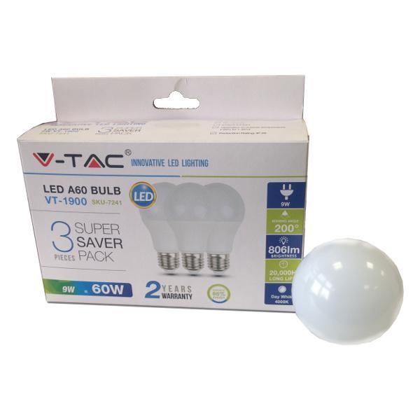 V-TAC 9W E27 A60 Thermoplastic – 2700K 3db/doboz LED izzó